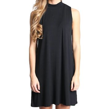 Black Piko Mock Neck Tunic