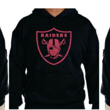 Raiders PINK Glittery  Unisex Hoodie , super shinny  sparkle wont flake  Oakland California Women  will love it!!  S-5XL sizes