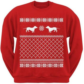 MDIGCY8 Dachshund Ugly Christmas Sweater Red Adult Crew Neck Sweatshirt