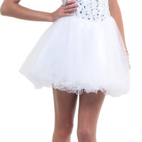 White Madame Mirror Tulle  2015 Prom Dresses
