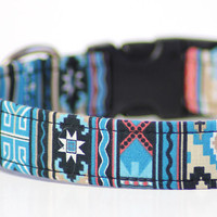 Tribal Dog Collar - Navajo Collar - Mesa Blue