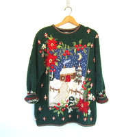 90s vintage sweater. Winter Christmas sweater. Ugly Party Green Long cotton Holiday novelty sweater. Large