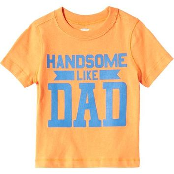 "Old Navy ""Handsome Like Dad"" Tees For Baby Size 12-18 M - Candied apricot"