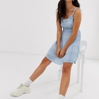 New Look sundress with ruffle edge in check | ASOS
