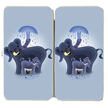 'Elephant Showers' Cute Mom & Baby Trunk Squirting - Taiga Hinge Wallet Clutch