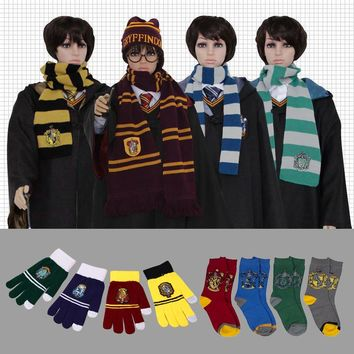 Harri Potter Scarf Winter Magic School neckerchief Gryffindor hat Slytherin Socks Scamander Ravenclaw gloves Hufflepuff Warm