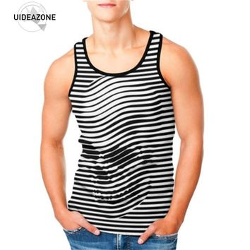 Men's Tank Top Skull Stripe 3D Printing Fitness Clothing Bodybuilding Men Tops Vest Fitness Tank top