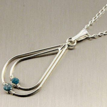 Blue Rough Diamond Pendant Necklace - Rare Blue Raw Diamonds, Conflict Free, Natural - Double Teardrops with Wire Wrapped Stones