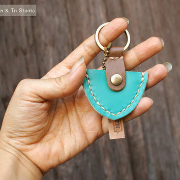 Mens Keychain Keyring Leather Pick Guitar Case - Hand Stitched - Men, Groomsmen, Boyfriend, Valentines, Anniversary Gift under 15 usd