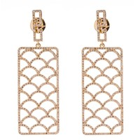 Jade Jagger Opium Wave Large Diamond Pave and Gold Earrings
