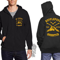Hufflepuff Quidditch team Captain Yellow print printed on Black Zipper Hoodie