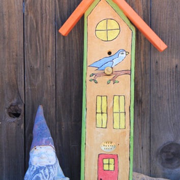 Home Sweet Home, Birdhouse Sign with Hand Stamped Metal Plaque, Hand Burned, Hand Painted by ReverieLife