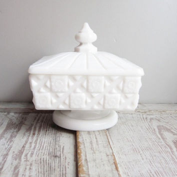 Milk Glass Covered Compote
