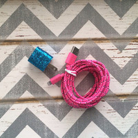 New Super Cute Turquoise Glitter Designed USB Wall Connector + 10ft Hot Pink Braided IPhone 5/5s/5c Cable Cord