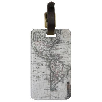 Old Map of North & South America 1770 Luggage Tag