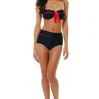Black & Red Matador Retro Style Bikini Swimsuit - Unique Vintage - Cocktail, Evening & Pinup Dresses