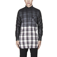Dipped Ombre Flannel Shirt in Grey Plaid | Atrium