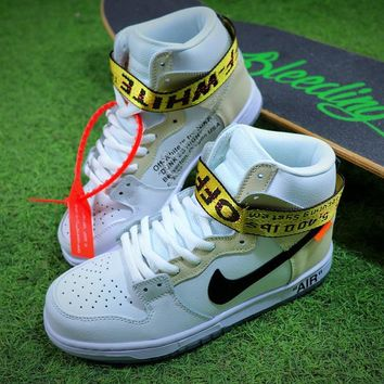 Off White x Nike SB Dunk High Sneaker White Grey Black Shoes Bes a1fdd6fbf402