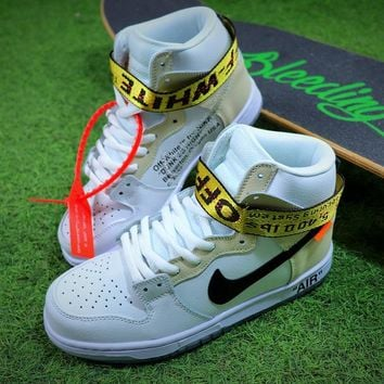 Off White x Nike SB Dunk High Sneaker White Grey Black Shoes Best Online Sale