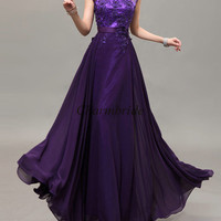 long grape chiffon prom dresses with applique lace / latest tulle gowns for holiday party / cheap evening dress on sale / homecoming gowns