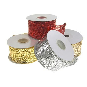 Sequin Glitter Web Wired Christmas Holiday Ribbon, 2-1/2-Inch, 10 Yards
