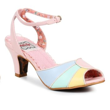 Ellie Shoes E-BP250-Abela 2 Tri Color Peep Toe Sandal