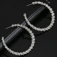 Fashion Women Simple Round Hollow Earrings Jewelry