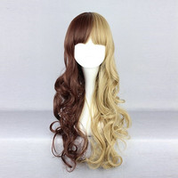Mix Brown Blonde Harajuku Long Costume Cosplay Wig High Temperature Heat Friendly Synthetic