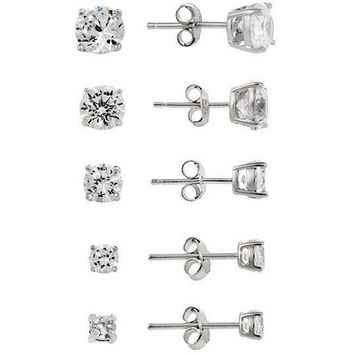 Set of 5 Pairs- Sterling Silver Round CZ Studs Earrings