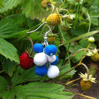 Sweet blueberries, felt earrings, felt wool, felted jewelry,handmade, blue earrings, white & blue balls,unique jewelry,Eco-Friendly, soft
