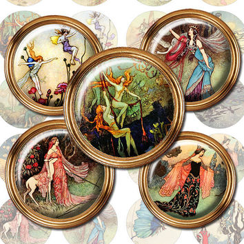 Fairies, Mermaids Warwick Goble circle pendant, bottlecap, button images DigitalCollage Sheet WG1
