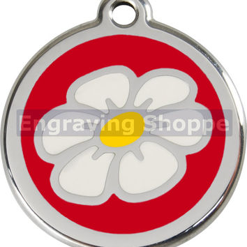 Red Daisy Enamel and Stainless Steel Personalized Custom Pet Tag with LIFETIME GUARANTEE ID Tag Dog Tags and Cat Tags Free Engraving