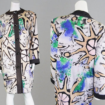 Vintage 80s Hand Painted Oversized Jacket Womens Kimono Punk Designer Artist Coat Avant Garde High Fashion 1980s Jacket Batik Clothing Indie