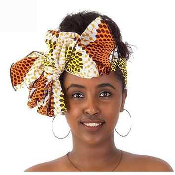 Women Traditional African Headscarf Batik Printed Headwrap Bow Printing Headwear Head Covers Ladies Bandage Hair Accessories