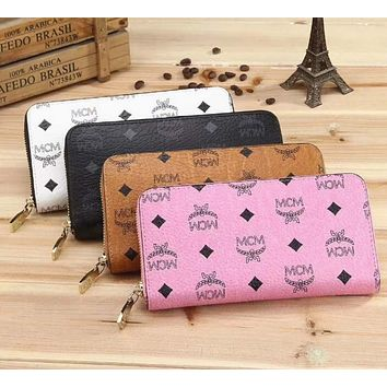 MCM Women Fashion Leather Zipper Wallet Purse