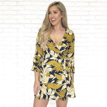 West Coast Print Wrap Dress