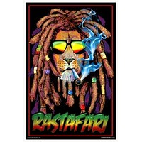 Rasta Lion Smoking Spliff Black Light Poster 23x35