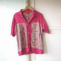 1970s Vintage Grey/Yellow/Teal/Maroon Guayabera Shirt; Men's XL Solid/Aztec Print-Embellished Short-Sleeve Cotton Shirt