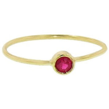 18 Karat Yellow Gold Ruby Stackable Ring