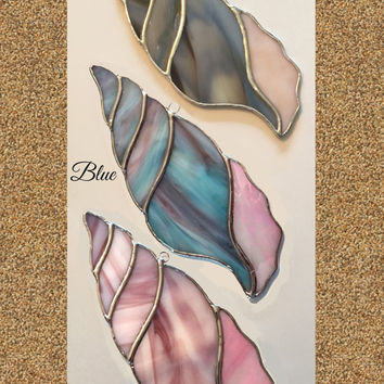 Handmade Stained Glass (Large) Seashell Suncatcher