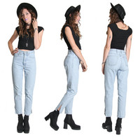 90s High Waisted Guess Jeans  - Guess Denim Jeans - High Waist Jeans - High Waisted Jeans - Light Wash - Zipper Ankles - Slim Fit - Grunge