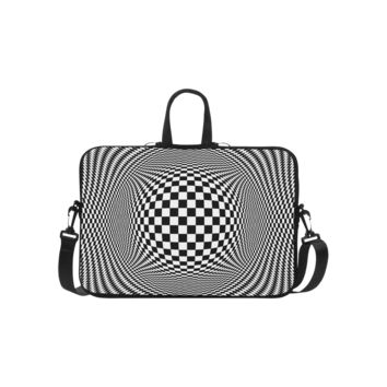 Personalized Laptop Shoulder Bag Optical Illusion Checkers Handbags 15 Inch