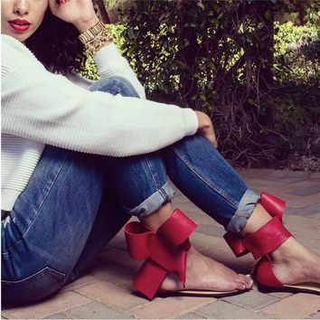 Bowknot Clip Toe Ankle Strap Simple Low Heel Flat Sandals