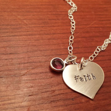 Personalized heart shaped necklace with birthstone Hand stamped