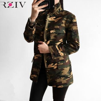 Trendy RZIV spring jacket women camouflage jacket 2018 military jacket women and veste militaire femme AT_94_13
