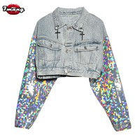 Trendy 2018 new women street silver sequins short jeans jackets long sleeve harajuku cross vintage lapel denim coat AT_94_13