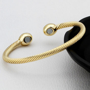 Vintage Gold/Rose gold/Silver Color Pure Copper Magnetic Health Energy Bangle Twisted Chain Round Bracelet Healing for Men/Women