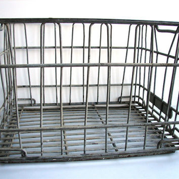 Vintage Wire Milk Crate Basket Heavy Duty Wire by ThirdShift