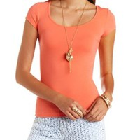 Short Sleeve Caged Back Cotton Tee by Charlotte Russe - Teaberry