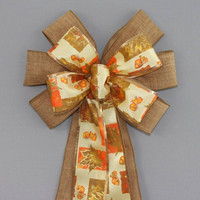 Brown Linen Gold Orange Maple Leaves Fall Bow